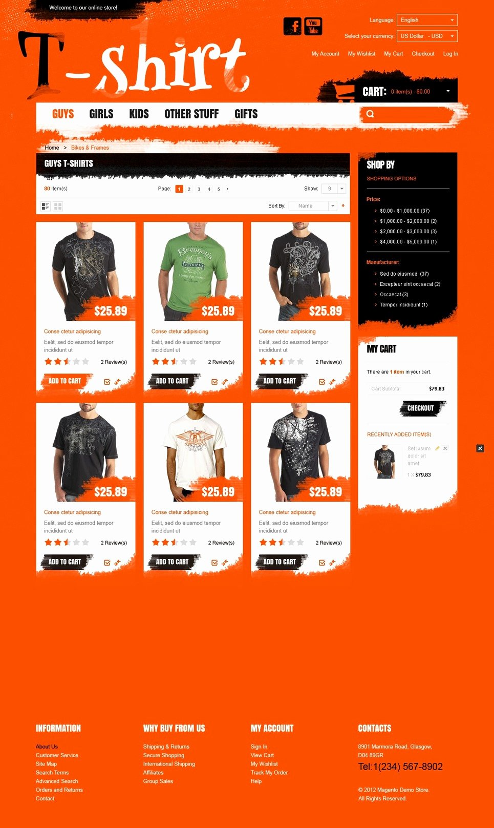 T Shirt Website Template Inspirational T Shirt Store Magento theme Web Design Templates