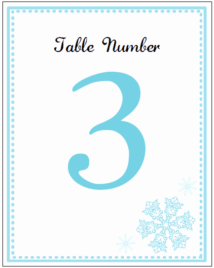 Table Number Cards Template Beautiful Printable Snowflake Wedding Invitation Kits