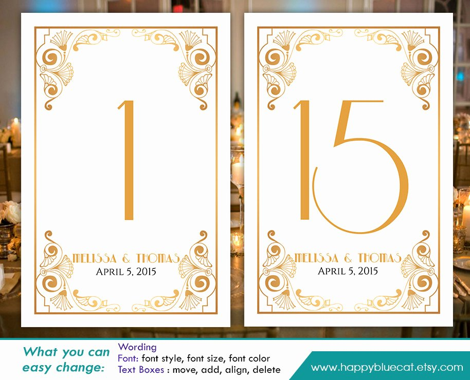 Table Number Cards Template Best Of Diy Printable Table Number Card Template Instant Download