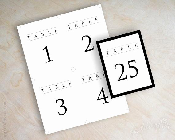 Table Number Cards Template Fresh Instant Pdf Digital Diy Table Number Template