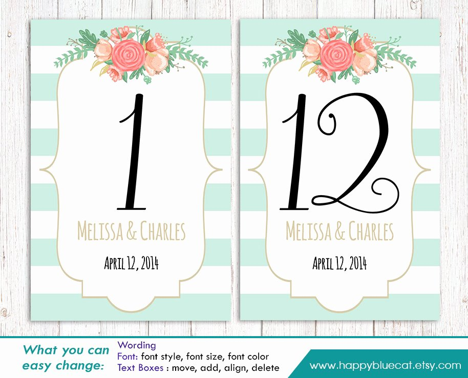 Table Number Cards Template Inspirational Diy Printable Table Number Card Template Instant Download