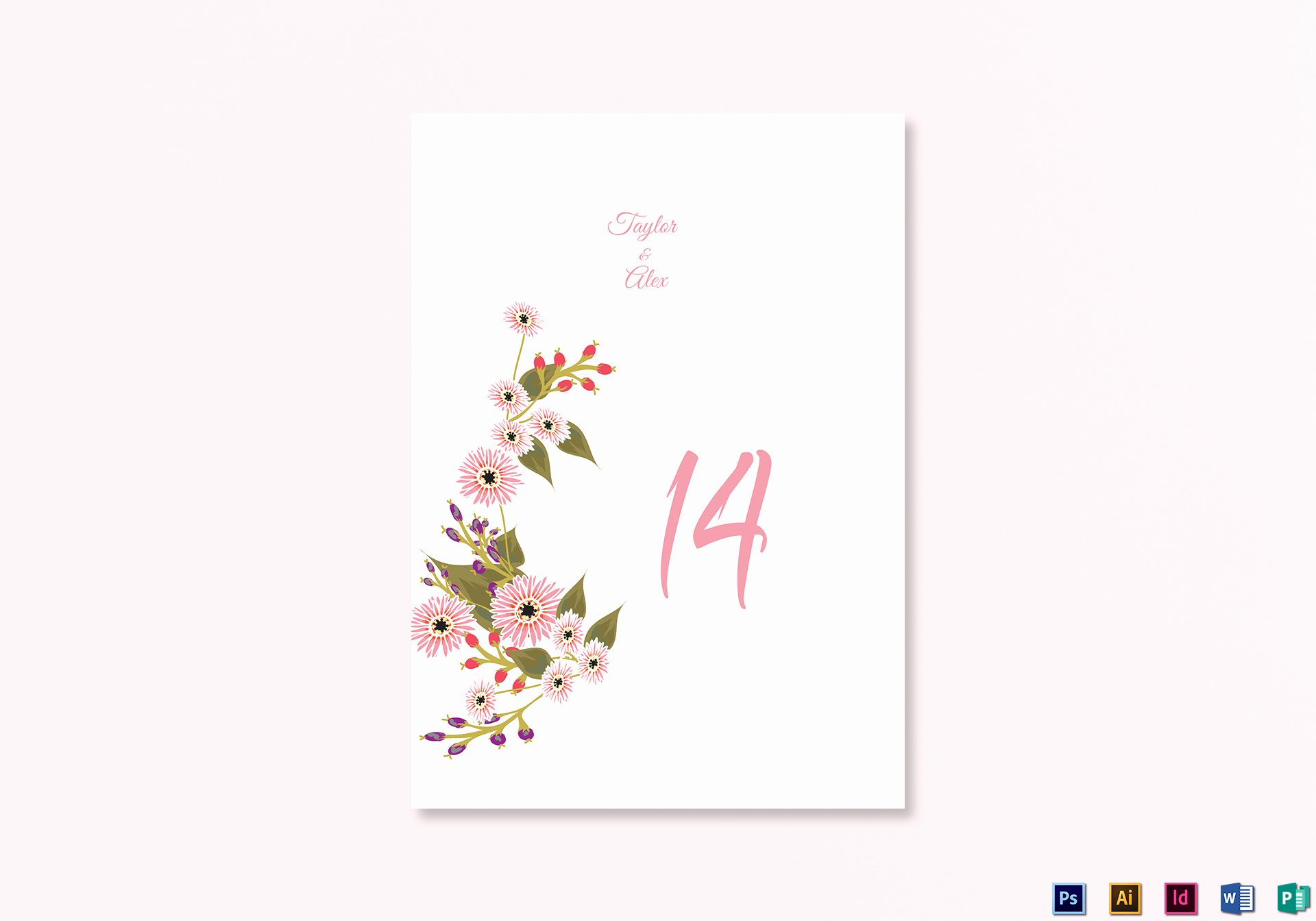 Table Number Cards Template Inspirational Floral Wedding Table Number Card Design Template In