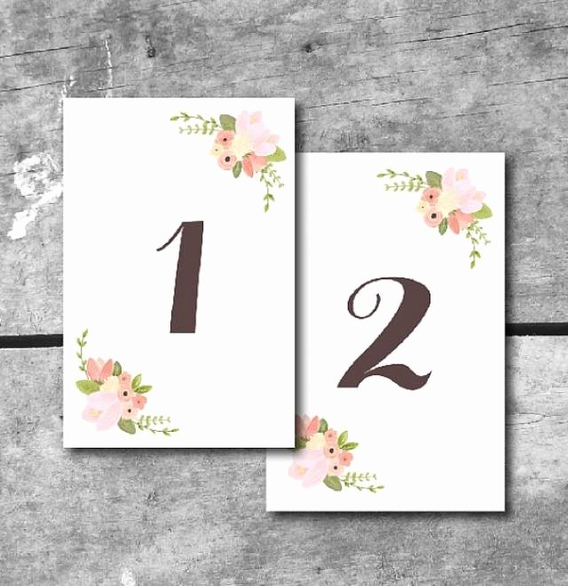 Table Number Cards Template Inspirational Instant Download Rustic Floral Table Numbers Printable