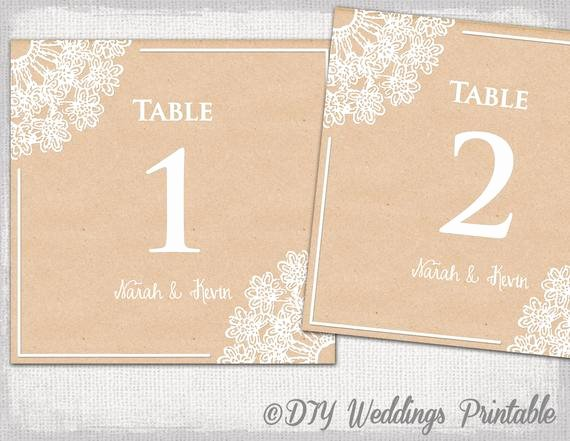 Table Number Cards Template Inspirational Rustic Wedding Table Number Template Diy Lace Doily
