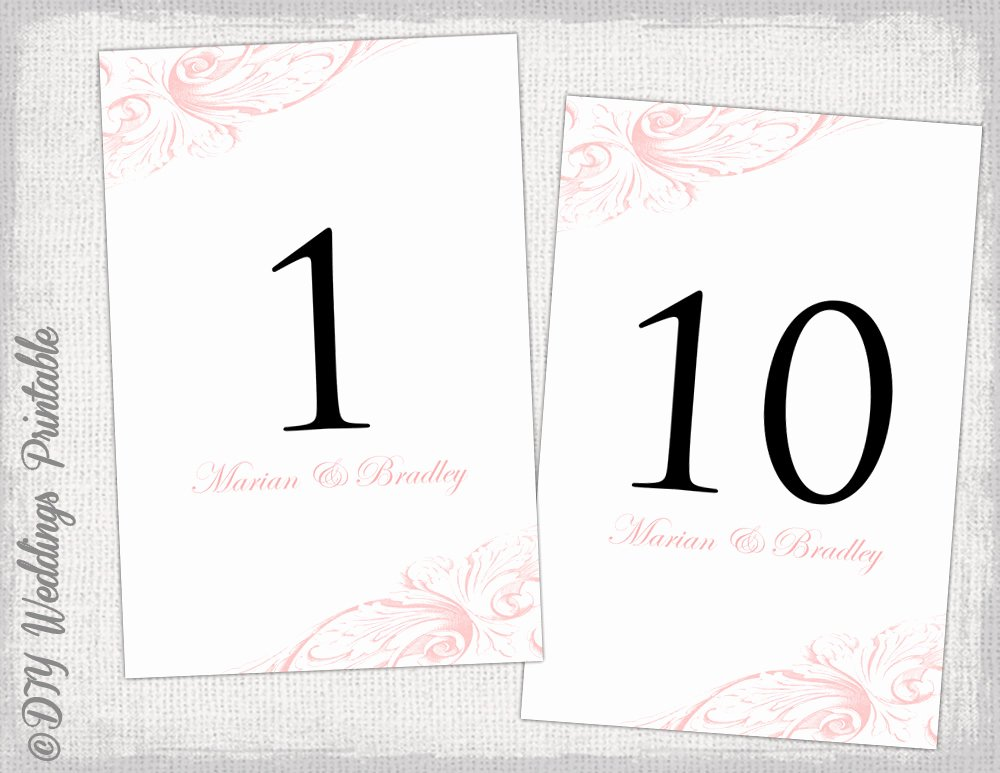 Table Number Cards Template Inspirational Table Number Template Diy Pastel Pink Wedding Number Card