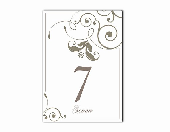 Table Number Cards Template Inspirational Table Numbers Wedding Table Numbers Printable Table Cards
