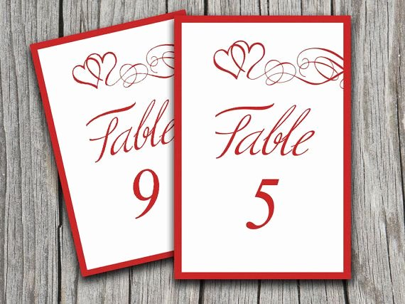 Table Number Cards Template Luxury Instant Download Heart Swirls Table Number Cards Microsoft