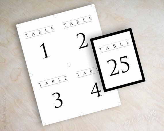 Table Number Cards Template Luxury Instant Pdf Digital Diy Table Number Template