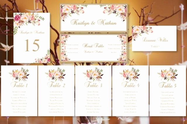 "Table Number Cards Template Luxury Wedding Seating Chart ""romantic Blooms"" Floral Table Sign"