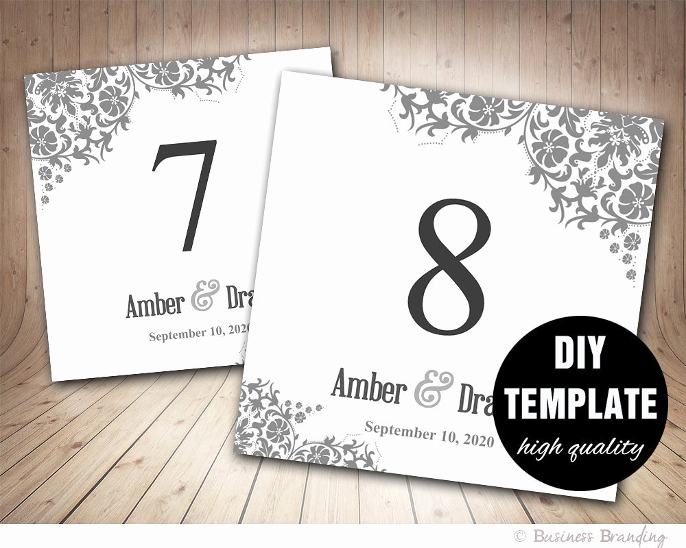 Table Number Cards Template Unique Table Number Card Template In Grayfloral Table Card Template