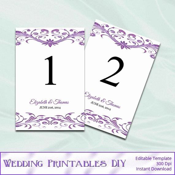 Table Number Template Word Best Of Items Similar to Wisteria Wedding Table Numbers Template