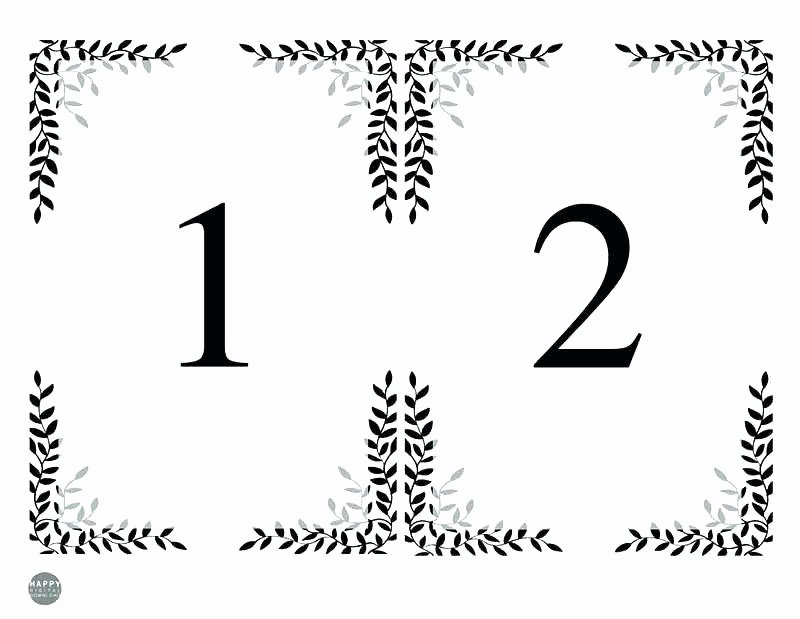 Table Number Template Word Elegant Free Printable Table Numbers Size Number