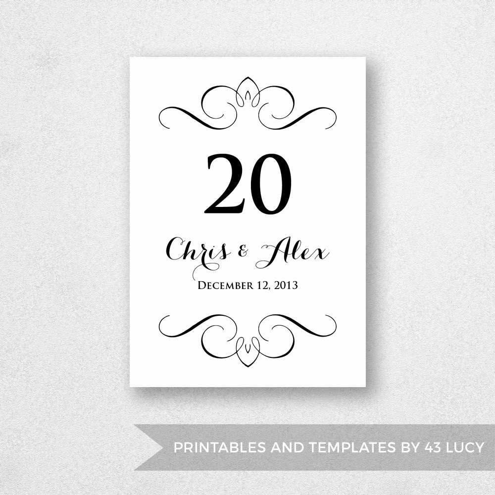 Table Number Template Word Elegant Table Number Template Printable Instant Download for Word