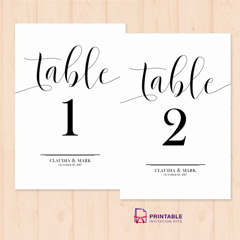 Table Number Template Word Elegant Table Numbers Printable Pdf Template ← Wedding Invitation