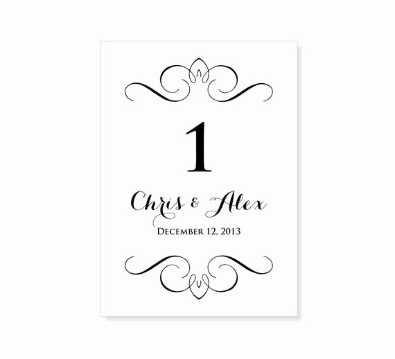 Table Number Template Word Elegant Wedding Table Number Template Flourish Design Instant by