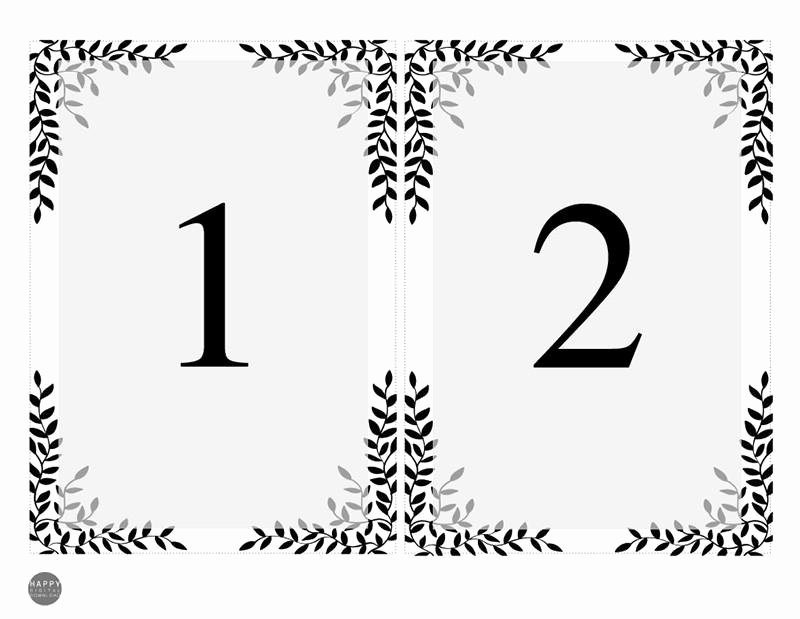Table Number Template Word New Rustic Leaves Table Numbers Template Happy Digital