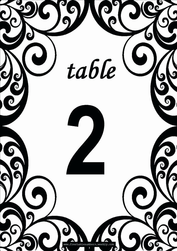Table Number Template Word New Table Number Template Word Numbers Wedding Tent Free