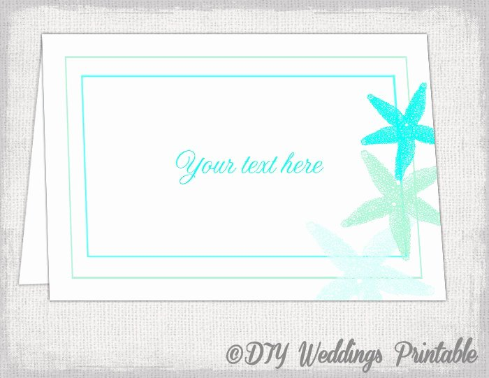 Table Tent Card Template Awesome Beach Table Card Template Starfish Printable