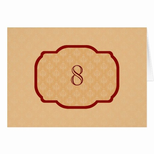 Table Tent Card Template Luxury Baroque orange Damask Table Tent Template Cards