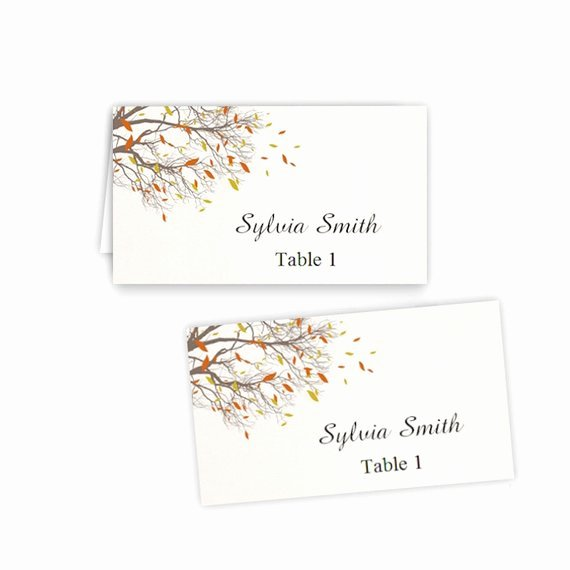 Table Tent Template Word New Fall Branches Folded Table Tent & Flat Place Card Templates
