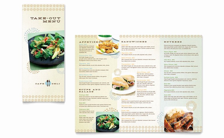 Take Out Menu Template Awesome Cafe Deli Take Out Brochure Template Word & Publisher
