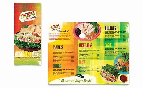 Take Out Menu Template Beautiful Mexican Restaurant Take Out Brochure Template Design