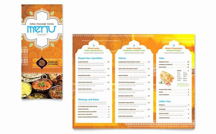 Take Out Menu Template Elegant Indian Restaurant Take Out Brochure Template Design
