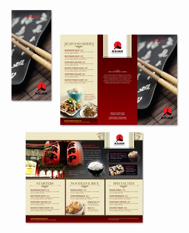Take Out Menu Template Inspirational asian Restaurant Take Out Menu Template