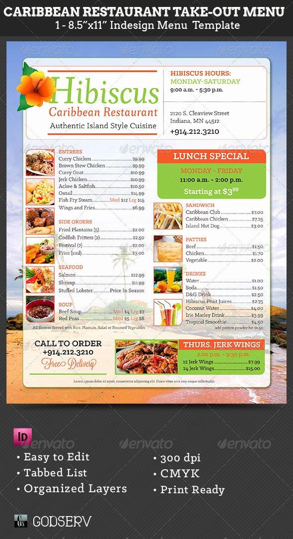 Take Out Menu Template Luxury Caribbean Restaurant Take Out Menu Template by Godserv