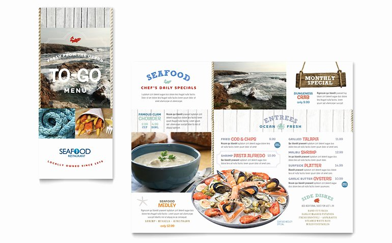 Take Out Menu Template Unique Seafood Restaurant Take Out Brochure Template Word