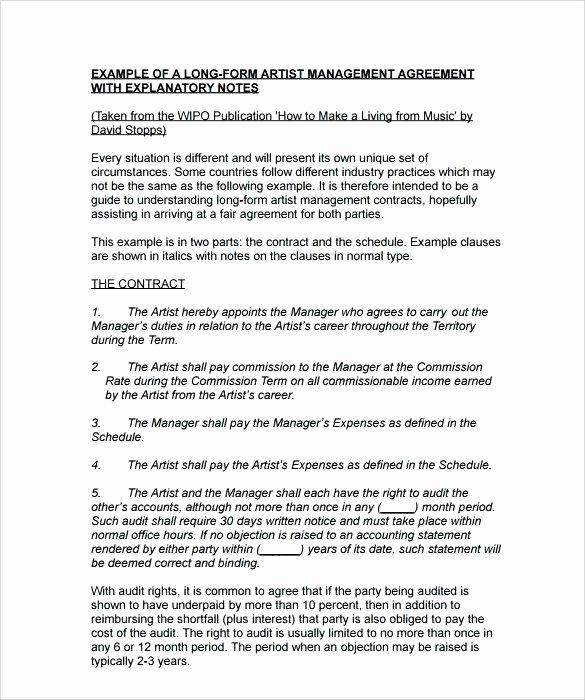 Talent Management Contract Template Elegant Download by Artist Management Agreement Template Short