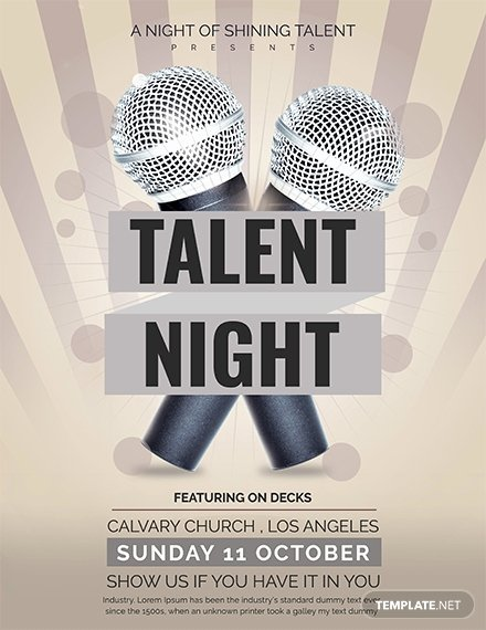 Talent Show Flyer Template Lovely Free Talent Show Flyer Template Download 641 Flyers In