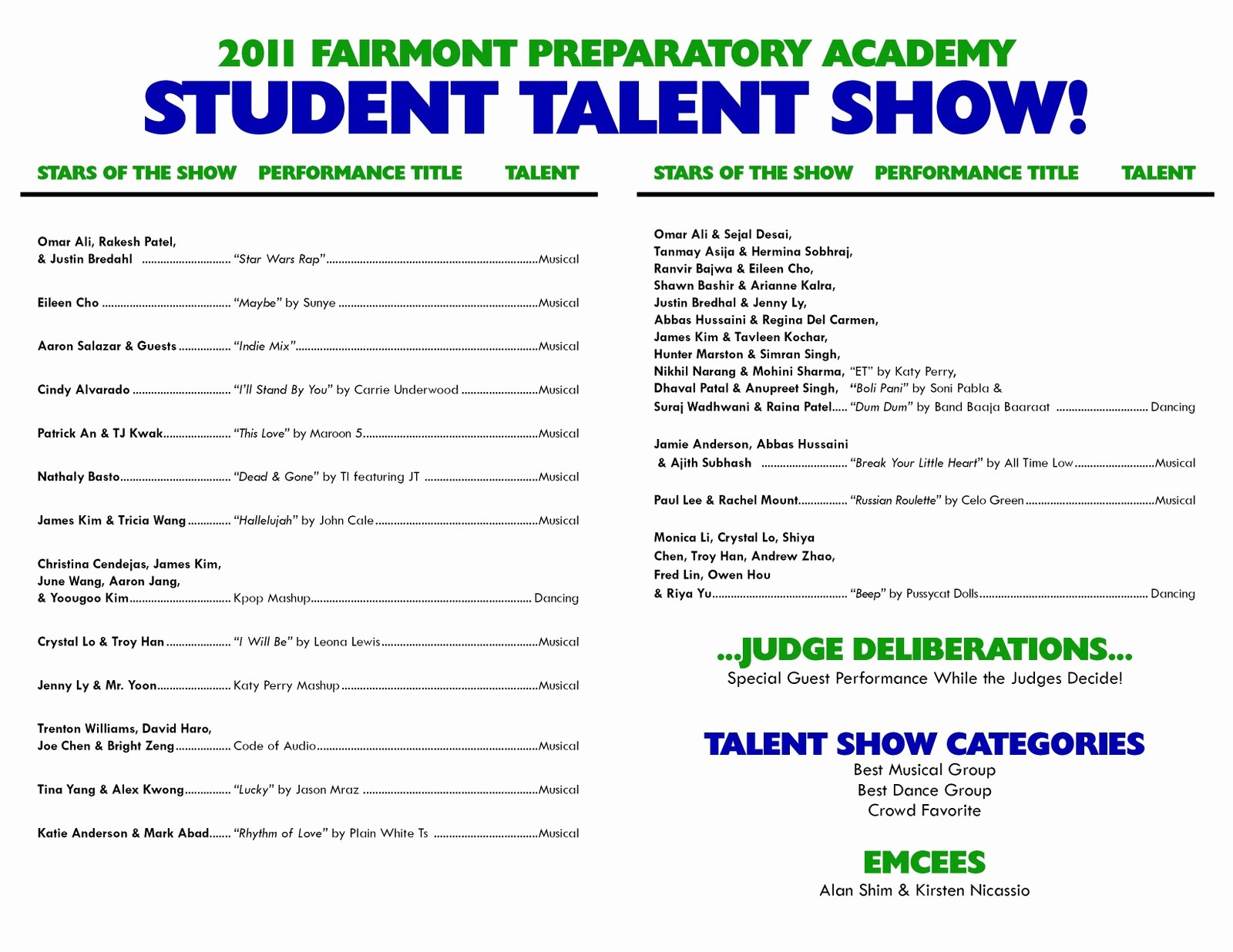 Talent Show Program Template Awesome Score Talent Show Score Sheet