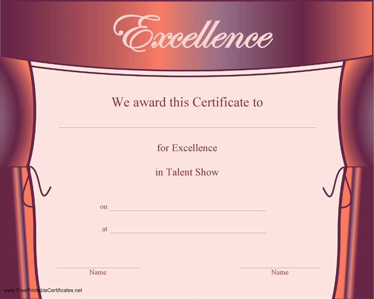 Talent Show Program Template Awesome Talent Show Certificate
