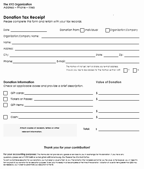 Tax Deductible Receipt Template Unique Donation Receipt Template 12 Free Samples In Word and Excel