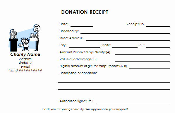 Tax Deductible Receipt Template Unique Tax Deductible Donation Receipt Template