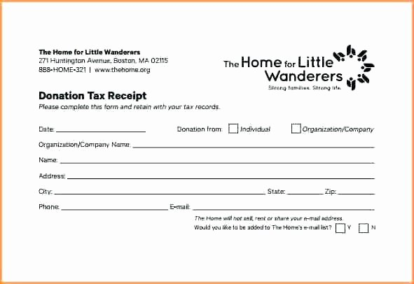 Tax Donation form Template Elegant In Kind Donation Receipt form Template Church Word Free