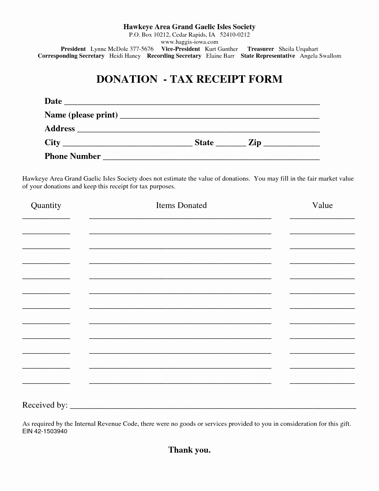 Tax Donation form Template Fresh Donation Receipt Letter Template 2018 Professional Tax