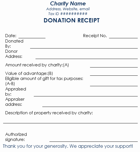 Tax Donation form Template Fresh Donation Receipt Template 12 Free Samples In Word and Excel