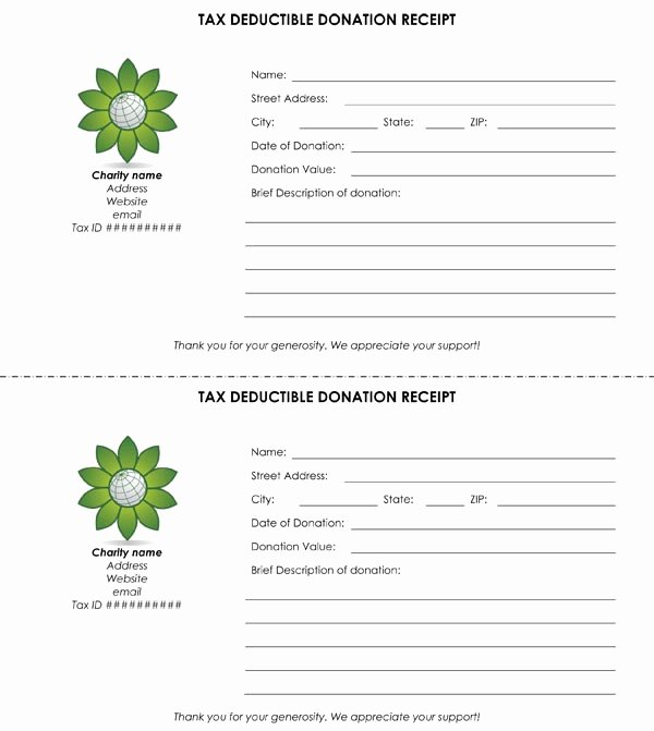 Tax Donation form Template New Tax Deductible Donation Receipt