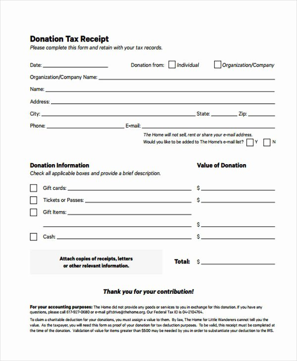 Tax Donation Receipt Template Beautiful Printable Receipt forms 41 Free Documents In Word Pdf