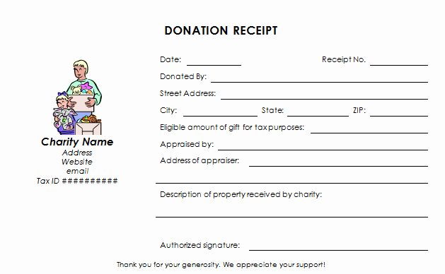 Tax Donation Receipt Template Fresh Charitable Donation Receipt Template