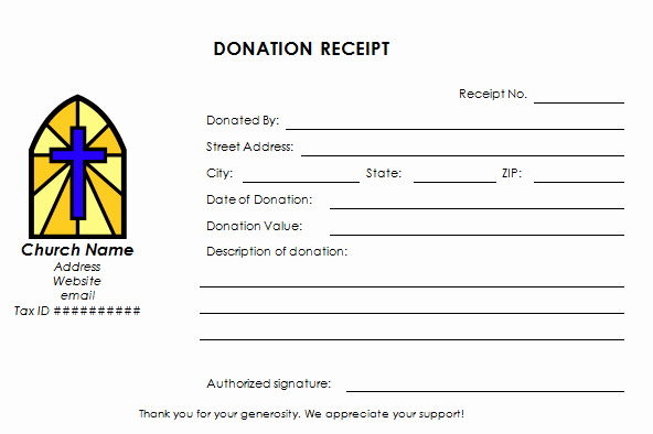 Tax Donation Receipt Template Fresh Church Donation Receipt Template