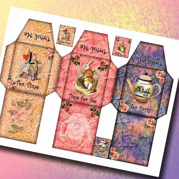 Tea Bag Tags Template New Alice In Wonderland 3 Charming Tea Bag Sleeve Templates