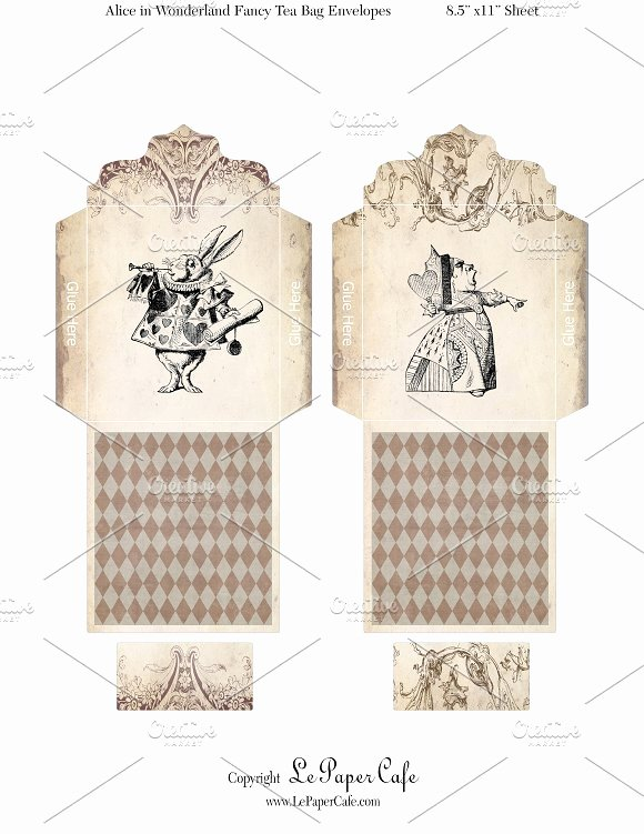 Tea Bag Tags Template New Alice In Wonderland Tea Bags Objects On Creative Market