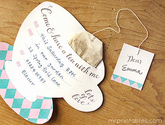 Tea Bag Tags Template New Printable Tea Party Invitations Mr Printables