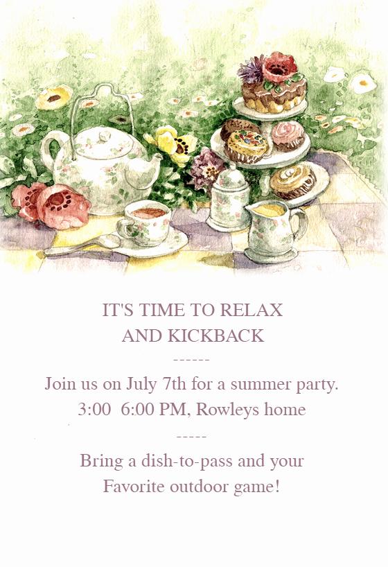 Tea Party Invitation Template Awesome Tea Party Free Dinner Party Invitation Template