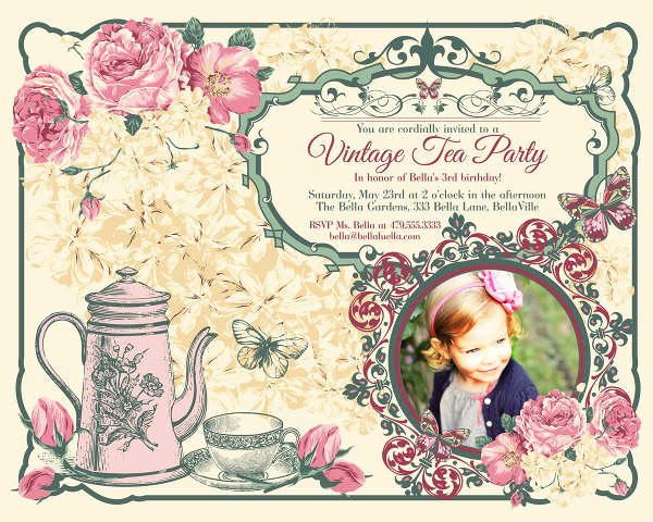 Tea Party Invitation Template Best Of 9 Vintage Invitation Templates Psd Eps Ai