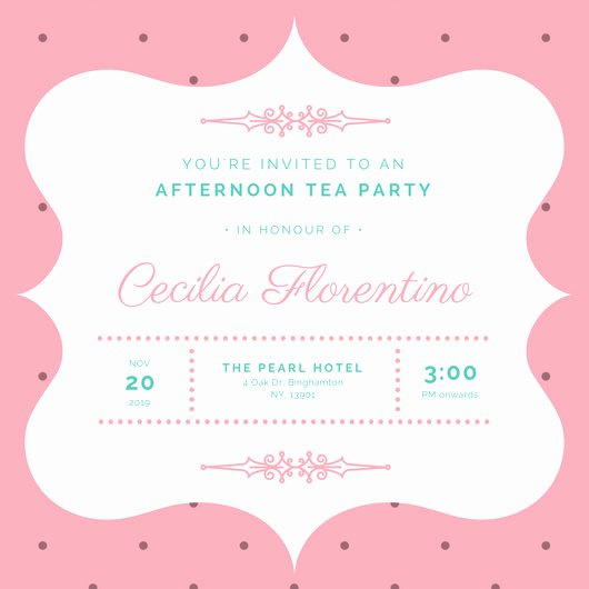 Tea Party Invitation Template Best Of Customize 128 Tea Party Invitation Templates Online Canva