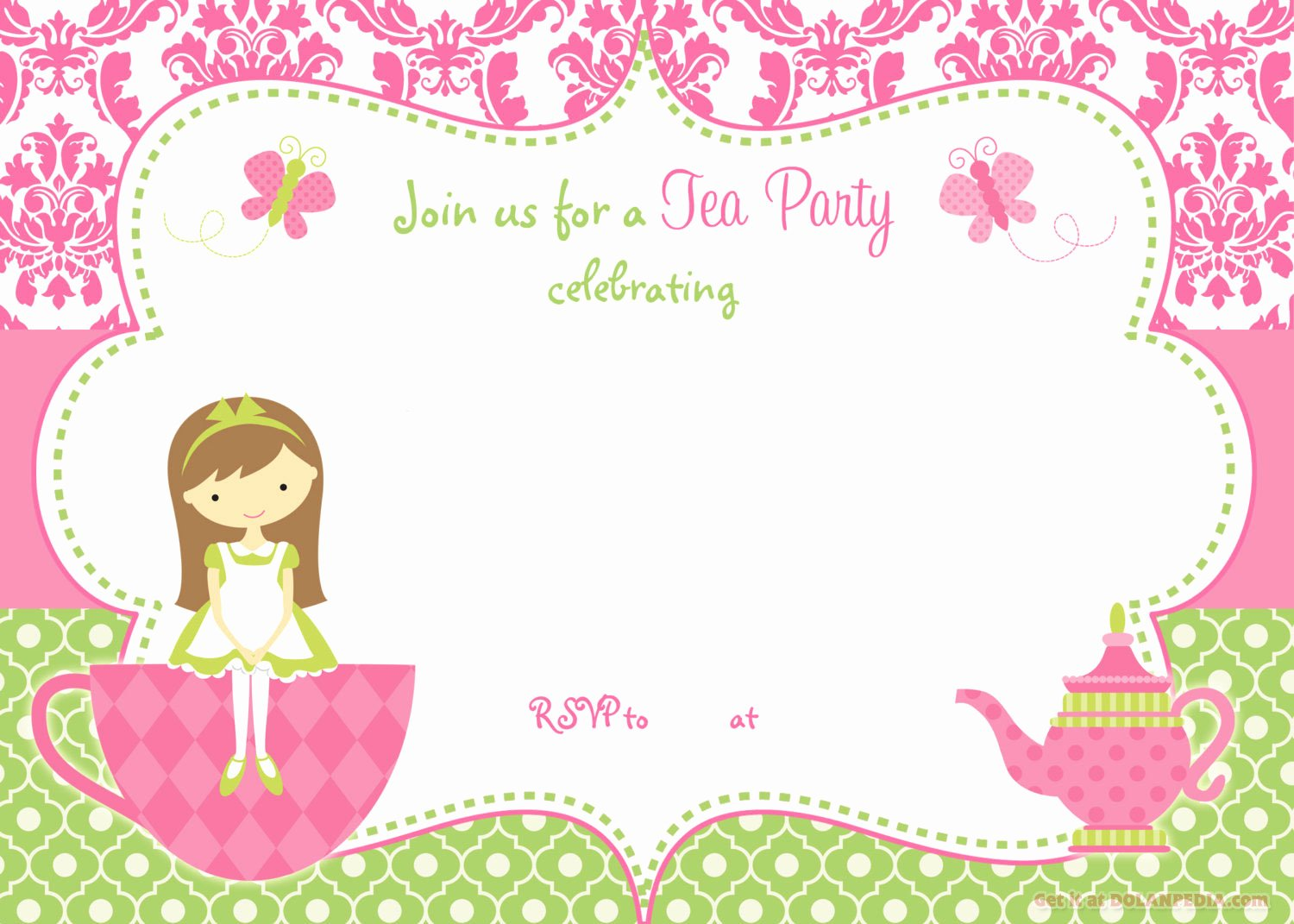 Tea Party Invitation Template Best Of Free Printable Tea Party Invitation Template for Girl